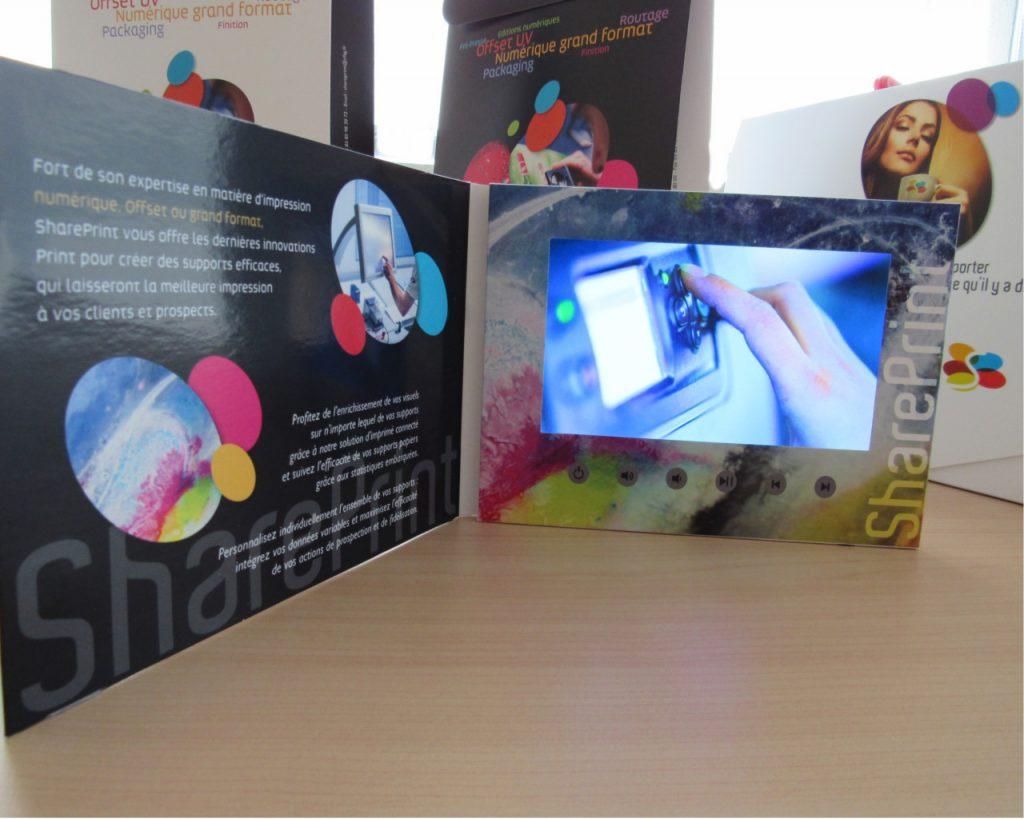 Plaquette vidéo A5 avec écran LCD 7 pouces intégré