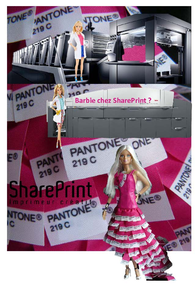 Barbie à l'imprimerie, chez SharePrint