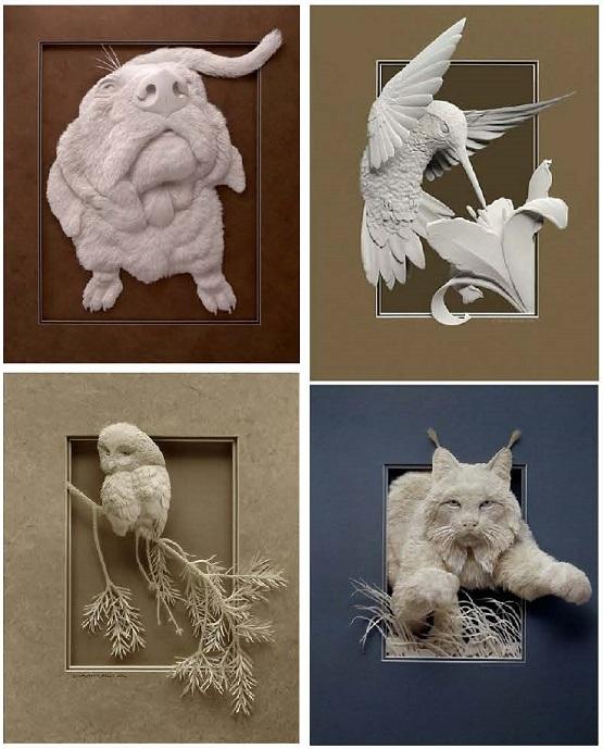 Sculptures de papier incroyables et réalistes